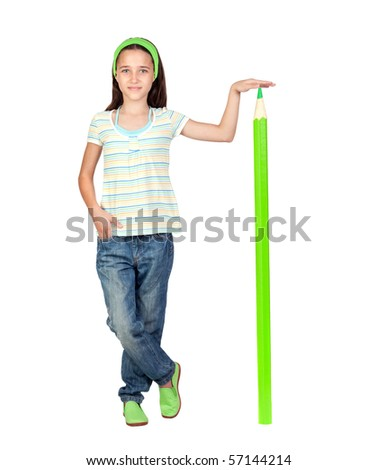 Adorable student girl with a giant green pencil isolated on white background - stock photo