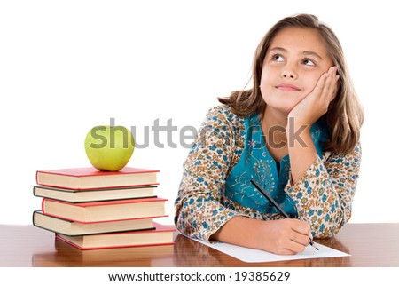 Adorable student thinking on a over white background - stock photo
