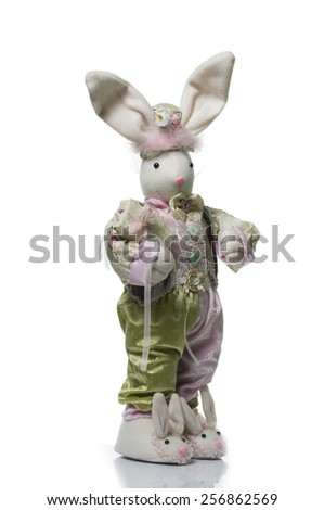 Adorable stuffed bunny isolated on white background with gift - stock photo