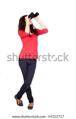 Adorable teen girl with binoculars isolated on white background - stock photo