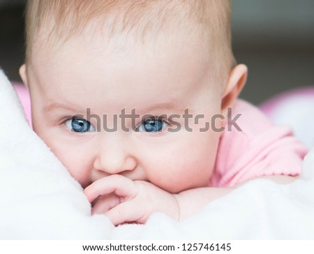 adorable  three month old baby close-up - stock photo