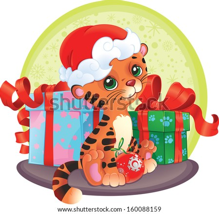 Adorable Tiger-cub with Christmas gifts. Cute little tiger wishes you joy and happy New Year.  - stock photo
