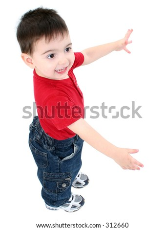 "Adorable toddler boy with arms out ""this big"" and smile over white."