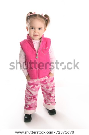 Adorable toddler girl posing, isolated on white