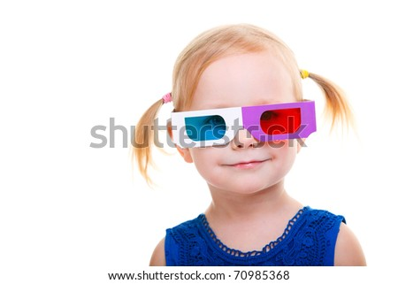 Adorable toddler girl wearing 3D glasses isolated over white