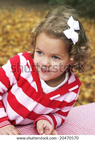 adorable toddler girl with curly hair - stock photo