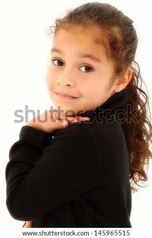 Adorable Toddler Hispanic Girl Looking Over Shoulder - stock photo