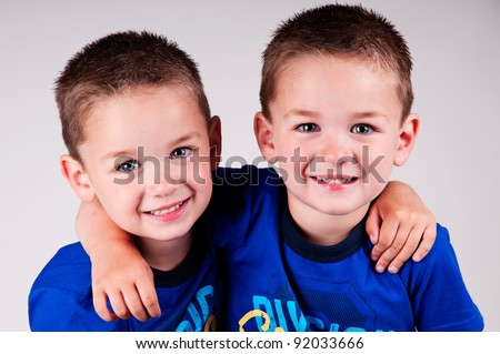 adorable twin brothers - stock photo