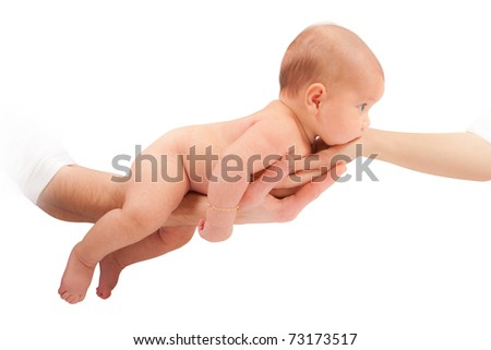 Adorable two months baby girl behind held by parents hands - stock photo