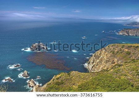 Adorable View of Coastline in Big Sur,California, United States. Horizontal Image Composition