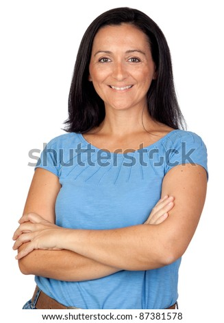 Adorable woman with blue t-shirt isolated on a over white background - stock photo