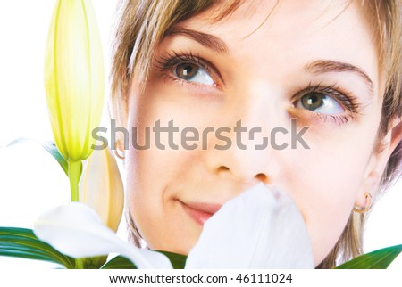 Adorable woman with flowers isolated over white - stock photo