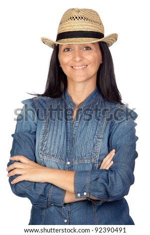 Adorable woman with straw hat isolated on a over white background