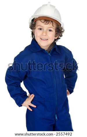 Adorable working future a over white background - stock photo