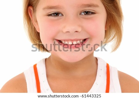 Adorable 5 year old american girl close up head shot smiling over white background. - stock photo