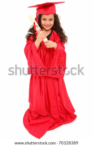Adorable 4 year old hispanic african american mixed girl in red graduation cap and gown with certificate diploma over white. - stock photo