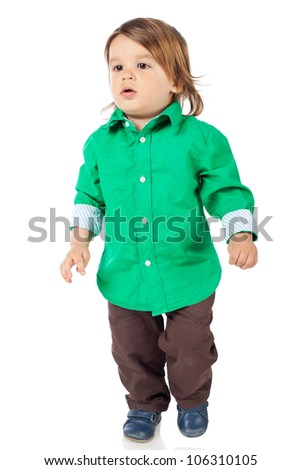 Adorable 2 years old boy wearing shirt and jeans. High resolution image isolated on white background with copy space. Studio shot