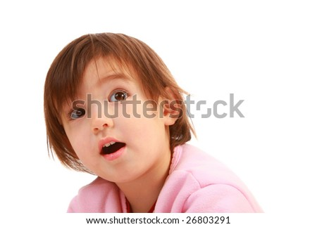 Adorable 2 years old on pure white background - stock photo