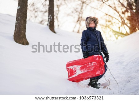Adorable young boy standing near hill top holding sleigh in snowy winter time