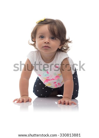 Adorable Young Caucasian Girl Crawling Isolated on White Background - stock photo
