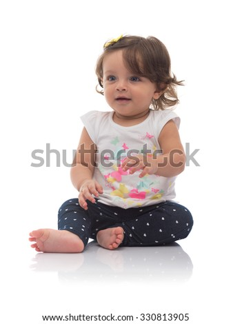 Adorable Young Caucasian Girl Looking Away Isolated on White Background - stock photo