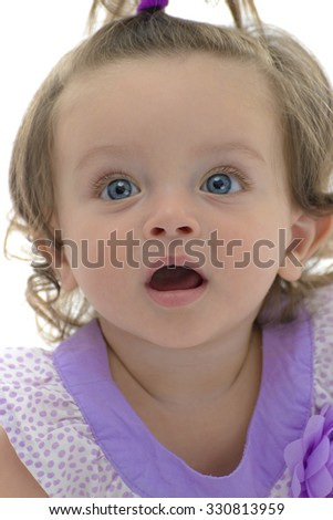 Adorable Young Caucasian Girl Looking Up Isolated on White Background - stock photo