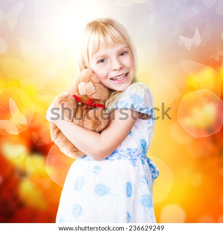 adorable young girl in an imaginary spring world - stock photo