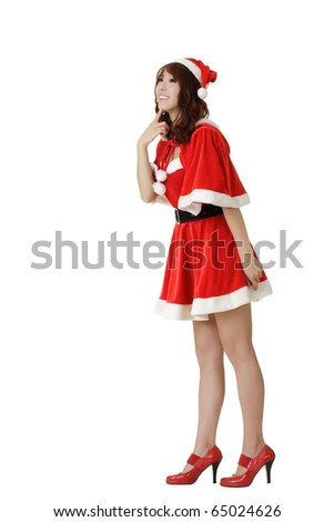 Adorable young girl in Santa Claus clothes, isolated over white. - stock photo