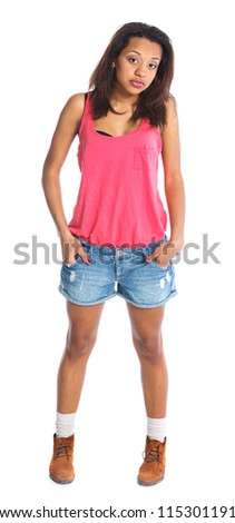 Adorable young smiling girl. Isolated white backround - stock photo