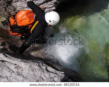 Adrenalin sport - Canyoning - stock photo