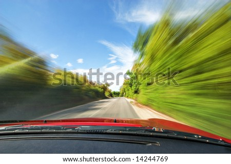 Adrenaline Fast Sport Car Driving in Nature Freeway - stock photo