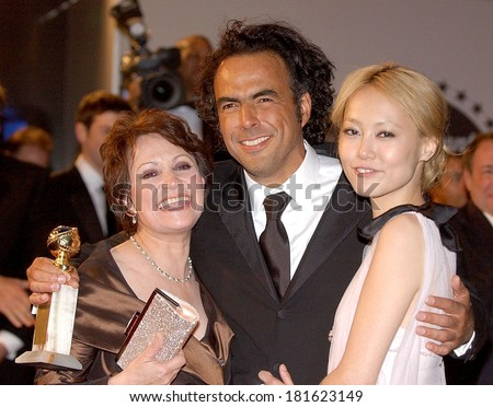 Adriana Barraza, Alejandro Gonzalez Inarritu and Rinko Kikuchi at Paramount and DreamWorks Official Golden Globes After Party, the former Robinsons-May department store, Beverly Hills, Jan 15, 2007 - stock photo