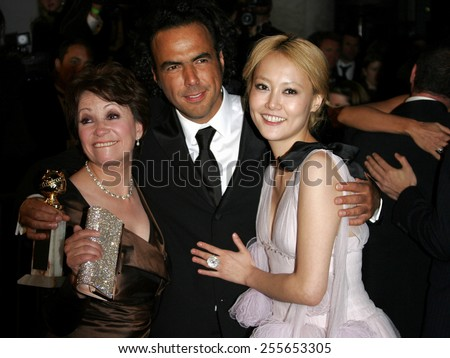 Adriana Barraza, Alejandro Gonzalez Inarritu and Rinko Kikuchi at the 2007 Paramount Pictures Golden Globe Award After-Party held at the Beverly Hilton Hotel in Beverly Hills, on January 15, 2007.