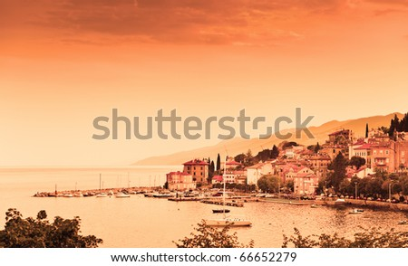 Adriatic bay scenic view. Opatija seaside town, coast of Croatia, popular touristic destination. - stock photo