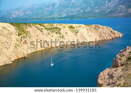 Adriatic beach in Pag, Croatia. - stock photo