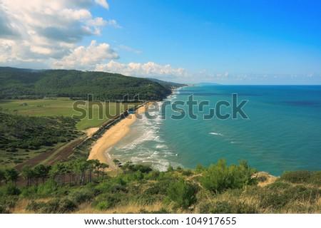 Adriatic coast of the Gargano Peninsula, Puglia, Italy. - stock photo