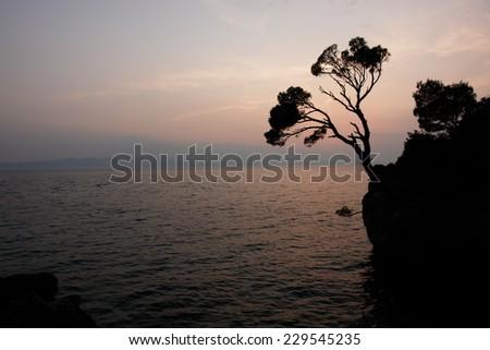 Adriatic coastline at Brela Croatia (most beautiful beach of Europe at 2004 (by Forbes)) - stock photo