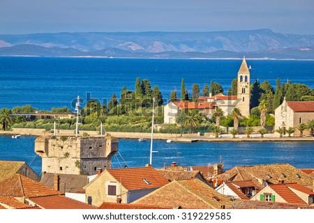 Adriatic island of Vis seafront, Dalmatia, Croatia - stock photo