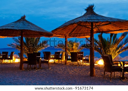 Adriatic Pebble Beach in the Night, Brela, Croatia - stock photo