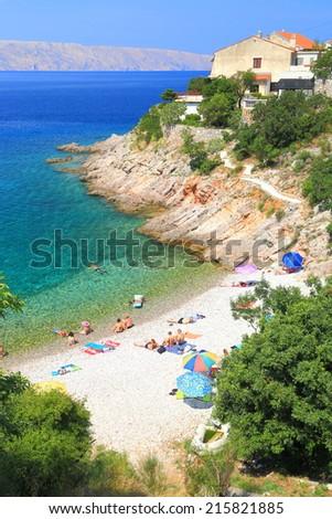 Adriatic sea and light beach near Senj, Croatia - stock photo