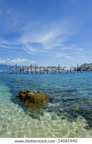 Adriatic sea beach, island Krk - stock photo