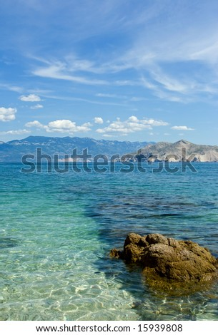 Adriatic sea beach on island Krk - stock photo