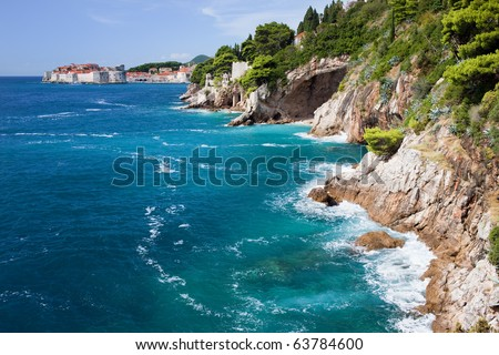 Adriatic Sea coastline in Croatia, South Dalmatia, near Dubrovnik - stock photo