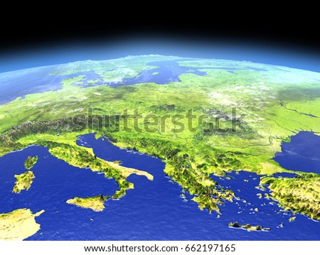 Adriatic sea region from Earth's orbit in space. 3D illustration with detailed planet surface. Elements of this image furnished by NASA.