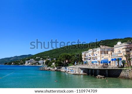 Adriatic Sea Scenic View, Opatija Town, Popular Tourist Destination of Croatian Coast - stock photo