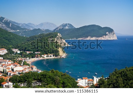 Adriatic sea shore on Balkan peninsula - stock photo