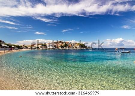 Adriatic Sea Town of Primosten Landscape, Dalmatia Croatia - stock photo