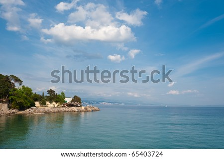 Adriatic sea view. Opatija, Croatian coast, popular touristic destination. - stock photo