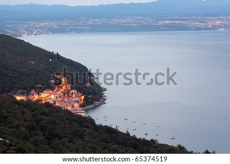 Adriatic town from above - Moscenicka Draga - stock photo