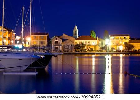 Adriatic town od Sukosan night waterfront view, Dalmatia, Croatia - stock photo